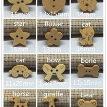 100 шт пуговицы из натурального дерева украшения звезда Жираф лошадь бант автомобиль кошка медведь цветок пуговицы 12 узоров