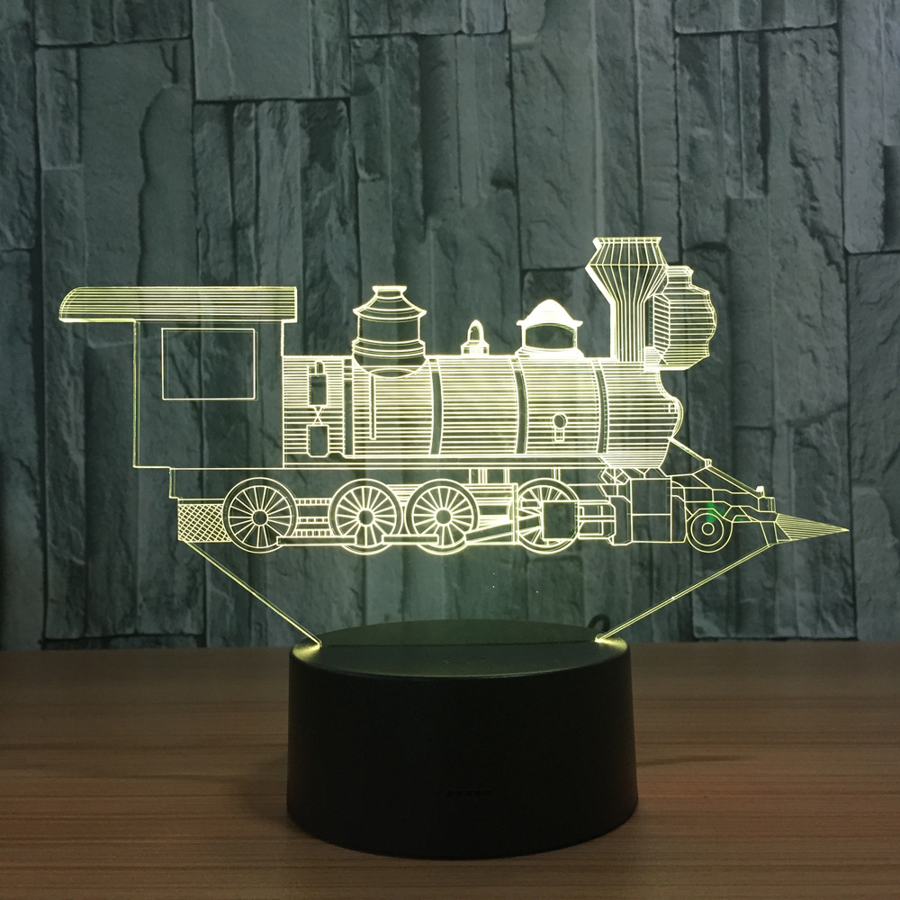 Locomotive Ancient Train 3D Visual Illusion Lamp Transparent Acrylic Night Light Led Color Changing Touch Table Bulbing Lambas 3d visual shark 7 color changing touch led table night light