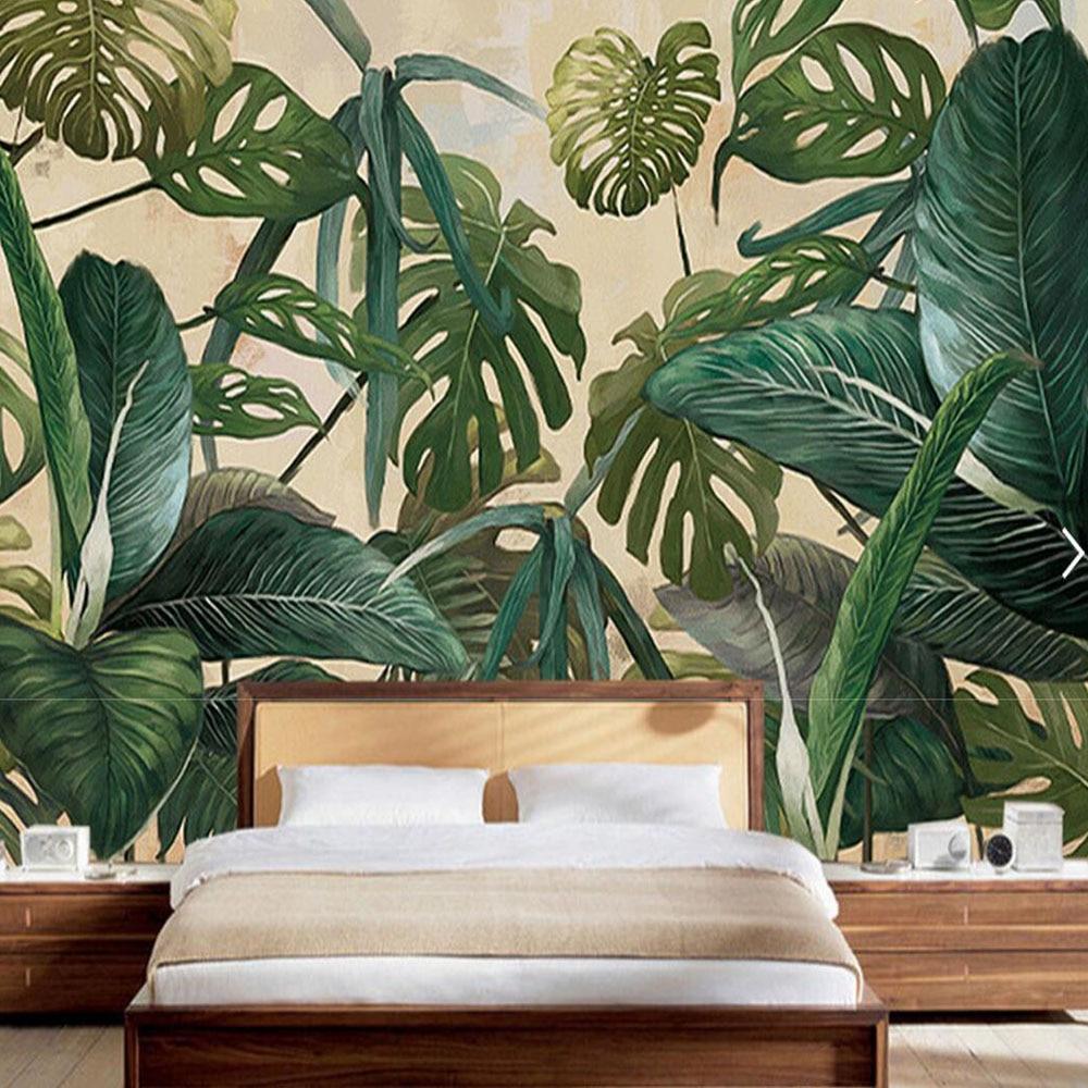 Moderon selva tropical hojas de pl tano hoja murales - Murales de pared 3d ...