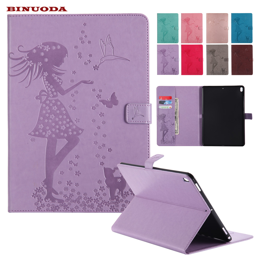 Fashion Girl Tablet Cover for iPad Pro 10.5 PU Leather Folio Book Stand Case Cover Coque with Card Holder for iPad Pro 10.5 new smooth book cover card holder folio