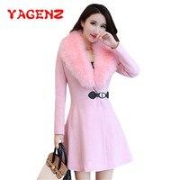 YAGENZ Winter Womens Big Fur Collar Plus Size Wool Coat Long Winter Woolen Jackets Parka Coats Pink Outerwear High Quality K161