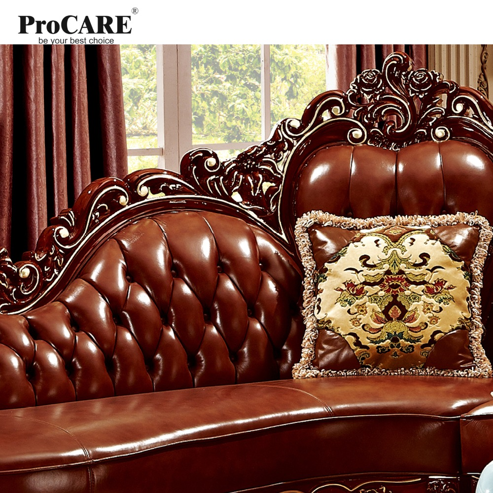 Red Solid Wood Genuine Leather Corner Sofa Set L Shape