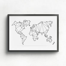 Geometric World Map Paintings Print On Canvas Abstract World Map Poster Canvas Painting for Home Decoration No Frame(China)