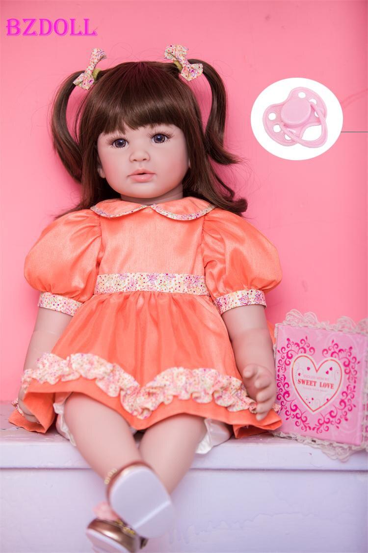 60 cm 24 polegada Vinil Silicone Renascer Baby Doll Brinquedos Como Real Princesa Dolls Caçoa o Presente de Aniversário Da Criança Bebês Jogar casa Dormir T