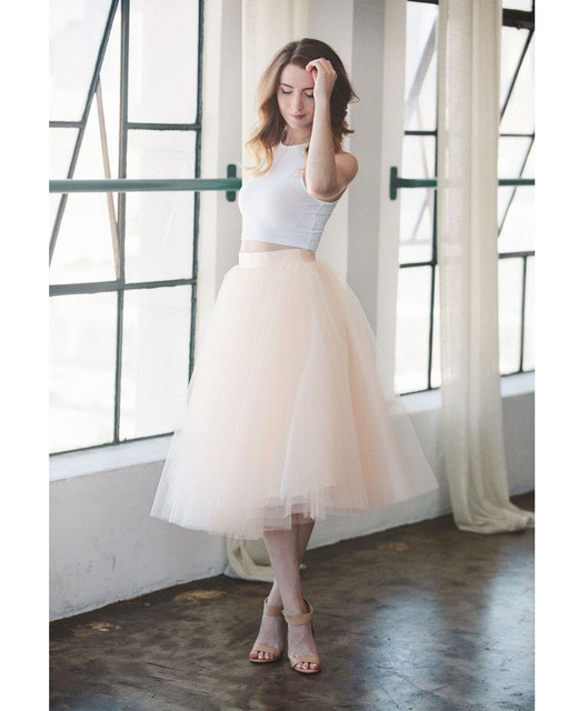 6b31d3663c Pink Simple Midi Tulle Skirt For Wedding Party Bridesmaid New Fashion Skirts  Women Tulle faldas mujer