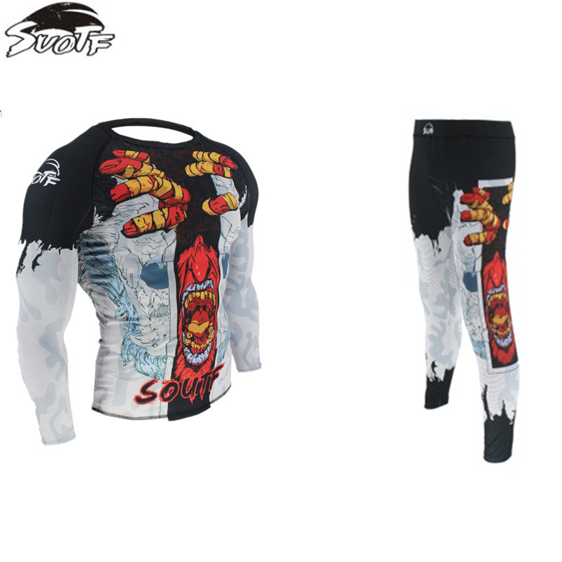 New Muay Thai Boxing Long Sleeve Shirts+Pants Mma Fight T- Shirt Martial Art Sports Rash Guard Fighting Pants
