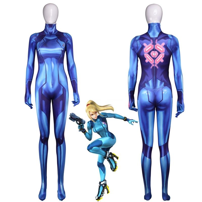Samus Aran Printing Lycra Spandex Bodysuit Zero Jumpsuit Halloween Cos Costumes
