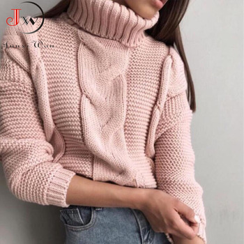 2019 Autumn Winter Short Sweater Women Knitted Turtleneck Pullovers Casual Soft Jumper Fashion Long Sleeve Pull Femme 4