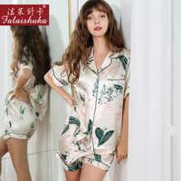 New Style Real Silk Pajamas Female 100% Silkworm Silk Summer Short Sleeve Two-Piece Printed Sleepwear Woman Silk Homewear T8167