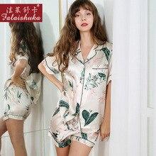 New Style Real Silk Pajamas Female 100% Silkworm Silk Summer Short Sleeve Two Piece Printed Sleepwear Woman Silk Homewear T8167