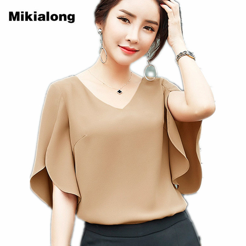 Mikialong Solid Elegant Ladies Office Shirts Blouse Femme Ete 2017 Korean V-neck Summer Tops Soft Chiffon Women Blouses Chemise