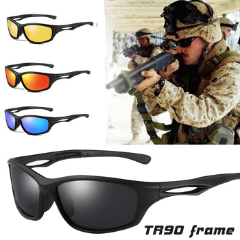 Gafas de sol polarizadas para hombre, lentes de sol militares con montura TR90 para exteriores, adecuadas para conducir, diseño de marca