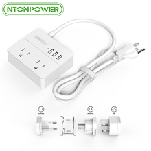 NTONPOWER OSP USB Electrical Outlet Power Strip US Plug 2AC 3 Ports USB Charger Portable with Worldwide Travel Universal Adapter