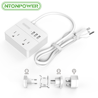 NTONPOWER US Plug Mini Portable Power Strip 2 AC Outlets 3 USB Charging Ports With 3