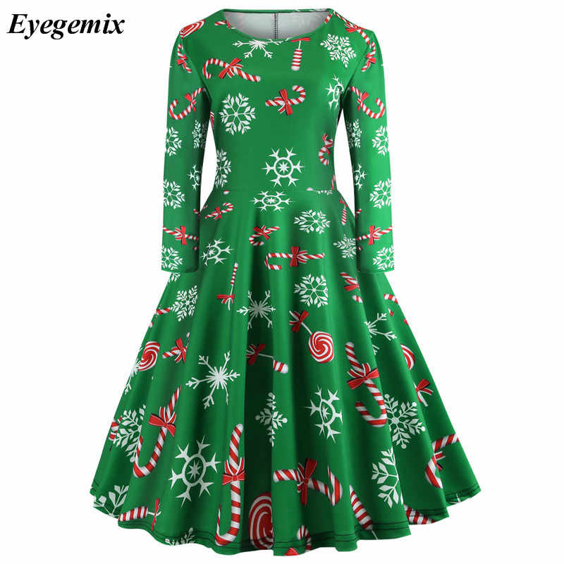 8fed6a306f97 Women Winter Clothing 50S 60S Vintage Christmas Dress Santa Claus Star Snow  Ball Print Dress Party