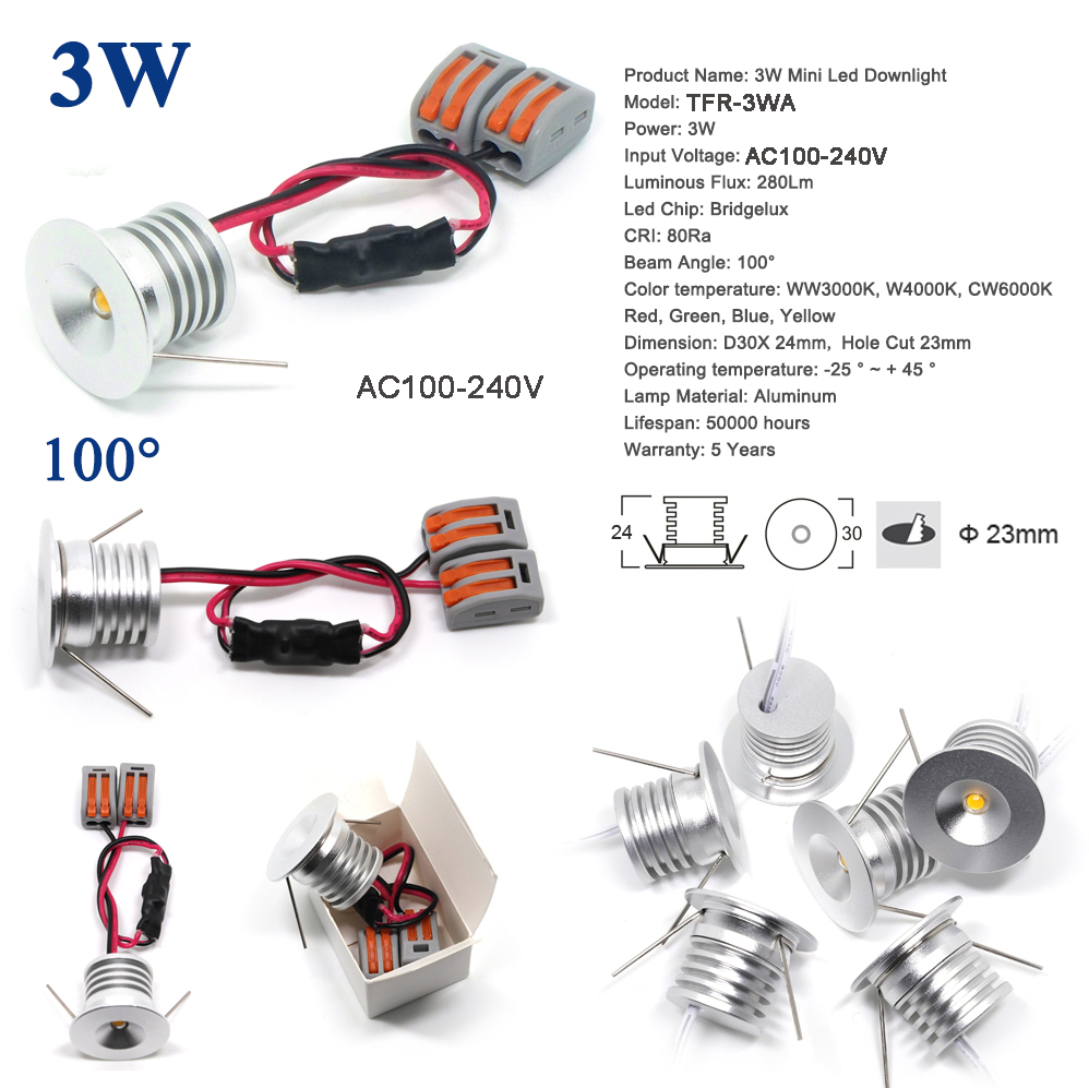 3W <font><b>DC</b></font> <font><b>3V</b></font> <font><b>12V</b></font> 24V <font><b>AC</b></font> 110V 220V 240V Mini Led Spotlight 23mm 300Lm Spot Light Indoor Lamp CE RoHS Ceiling Lighting image