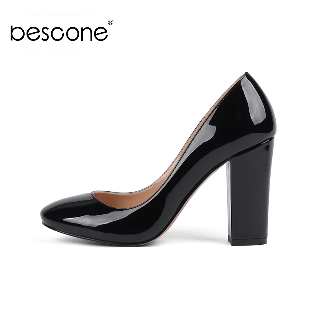 BESCONE Stylish Ladies Pumps Mature Slip-On Round Toe Shoes Women New Handmade 10 Cm Super High Heel Shallow Office Pumps BY11