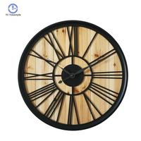 23 Inches Large Wall Clock Iron Wood Digital watch Home Decoration Accessories Modern New Arrival Wall Clocks