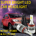 hlxg 2PCS Car Accessories Headlights H7 H4 HB3 HB4 Driving Bulb led High 7600LM 76W COB 6 chips LED Pure White Lamp