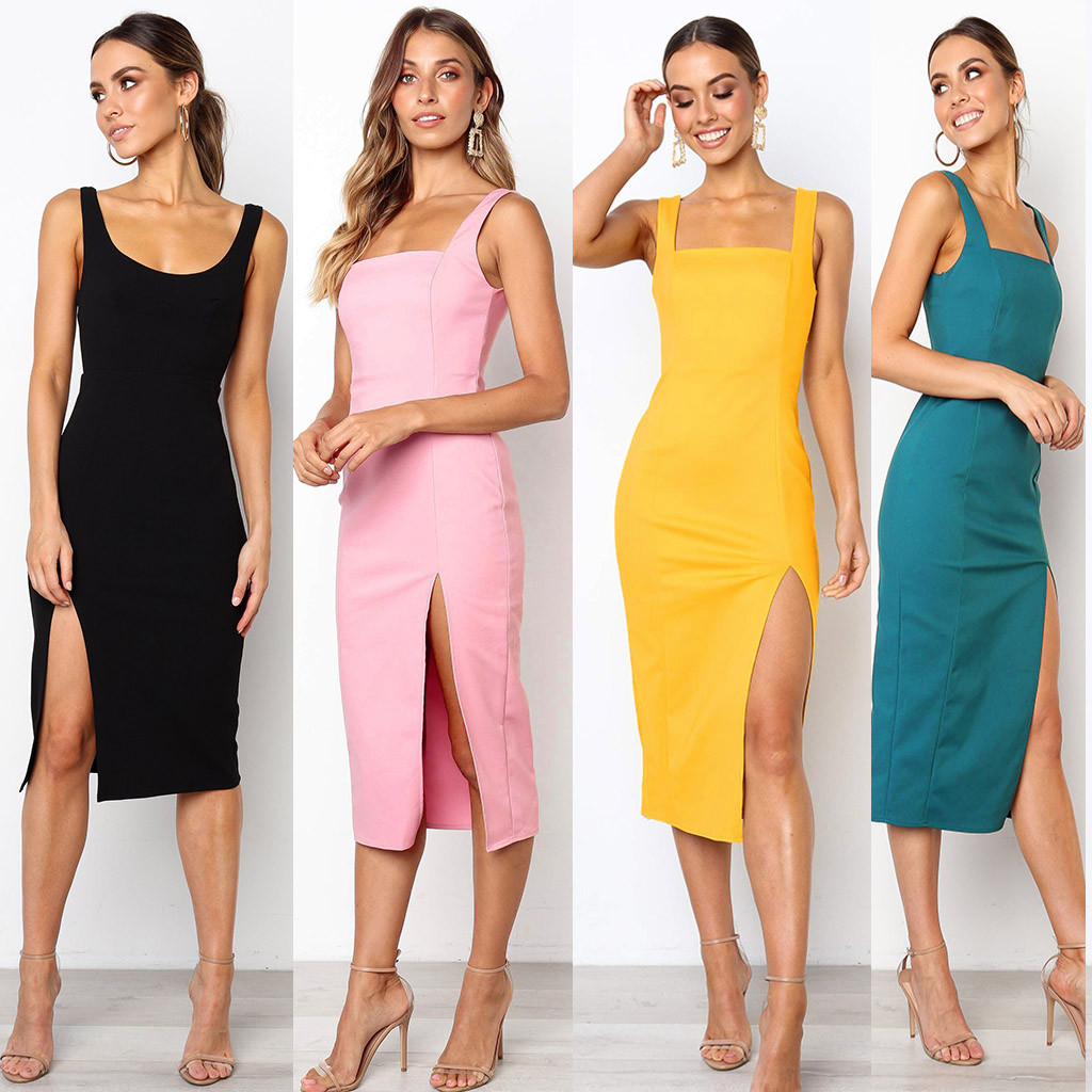 4fd478b1ee8e Detail Feedback Questions about Fashion Ladies Halter Tube Top Dress Women  Casual Off Should Sleeveless Pencil Party Bodycon Slim Min Dress on ...
