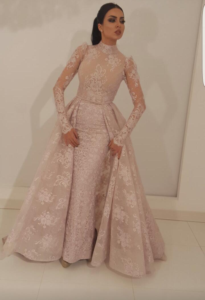 Image 2 - robe de soiree Muslim Evening Dress 2019 Mermaid High Collar Illusion Long Sleeves Lace Dubai Saudi Arabic Long Evening Gown-in Evening Dresses from Weddings & Events