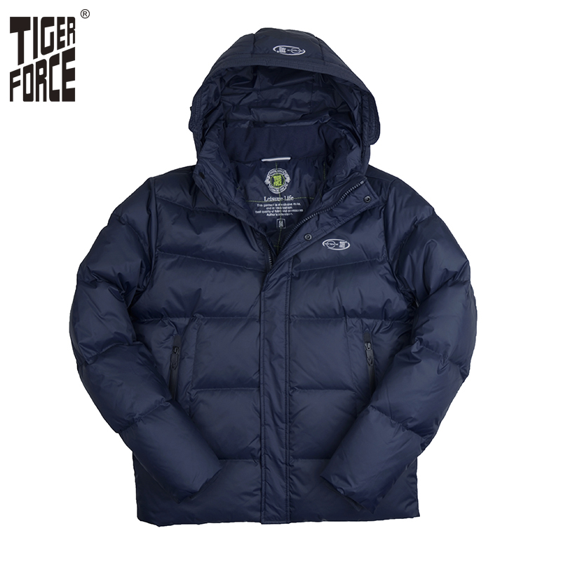TIGER FORCE 2017 Brand Men Down Jacket 70 White Duck Down Winter Down Coat Parka European