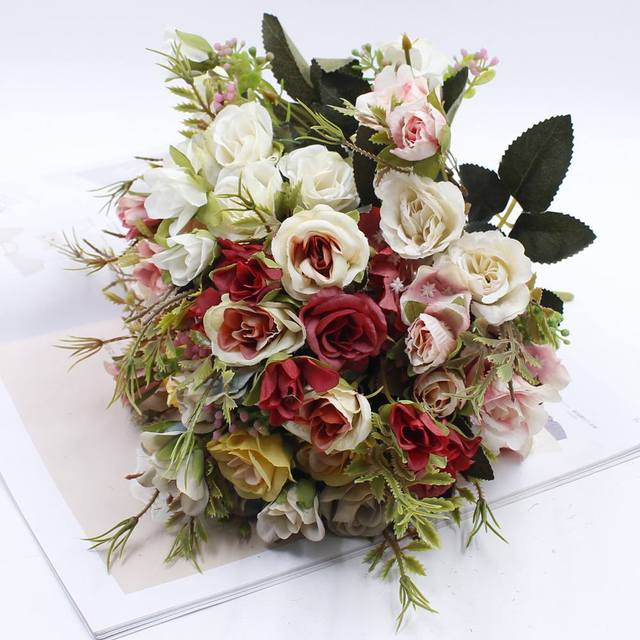 Artificial Flowers 13 Heads Small Bouquet Of Bud Silk Roses Simulation Leaves Green Vases