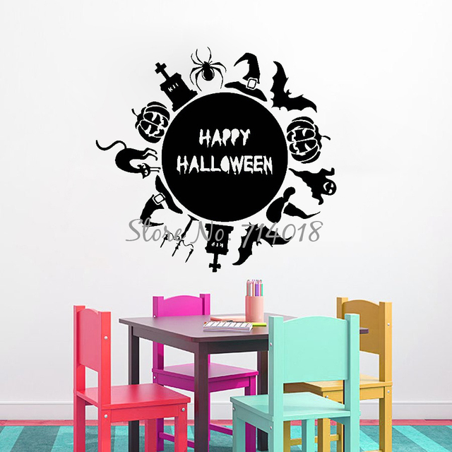 Wall Decals Quote Happy Halloween Globe Stickers Bats Pumpkin Cat - Vinyl wall decals home party