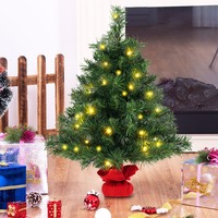 Goplus 24 24 Pre Lit Tabletop Fir Artifical Christmas Tree Battery Operated w/ Led Lights Christmas Decorations CM21216