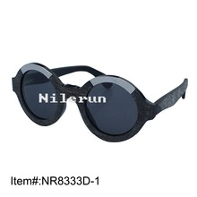 Vintage round shape stainless steel metal decorative black buffalo horn frame sunglasses