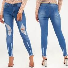 2018 nuevo otoño elástico azul borla Ripped Jeans Mujer pantalones vaqueros  para las mujeres lápiz sexy pantalones vaqueros r185 20b84dcd2bf4