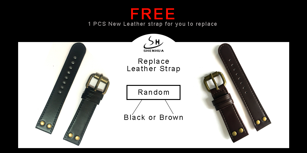 Leather strap brown black 2