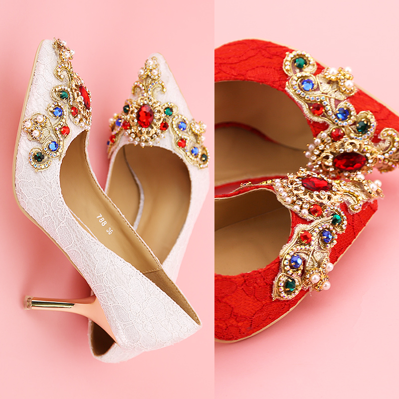 Fashion fashion rhinestone lace pointed toe bridal shoes shallow mouth thin heels shoes crystal wedding shoes