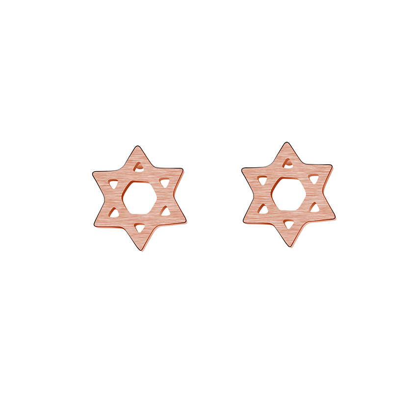 Brincos 2017 Jewish Gifts Stainless Steel Pink Gold Magen Star of - Fashion Jewelry - Photo 1