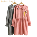 new  cartoon Carrot rabbit embroidered dress pure color girls slim drawstring large lapel long-sleeved dress thin for female