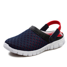 Men's Summer Shoes Sandals 2017 New Breathable Men Slippers Mesh Lighted Casual Shoes Outdoor Slip On Shoes Beach Flip Flops цена