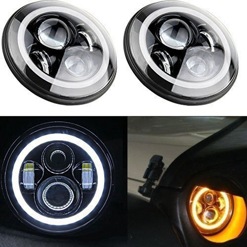 7 Inch Round LED Headlight with Amber Signal Halo Angle Eyes with White DRL Halo for Jeep Wrangler 97-15 7 inch round led headlight with red signal halo angle eyes with white drl halo for 97 15 jeep wrangler