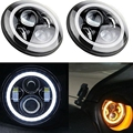 7 Inch Round LED Headlight with Amber Signal Halo Angle Eyes with White DRL Halo for 97-15 Jeep Wrangler