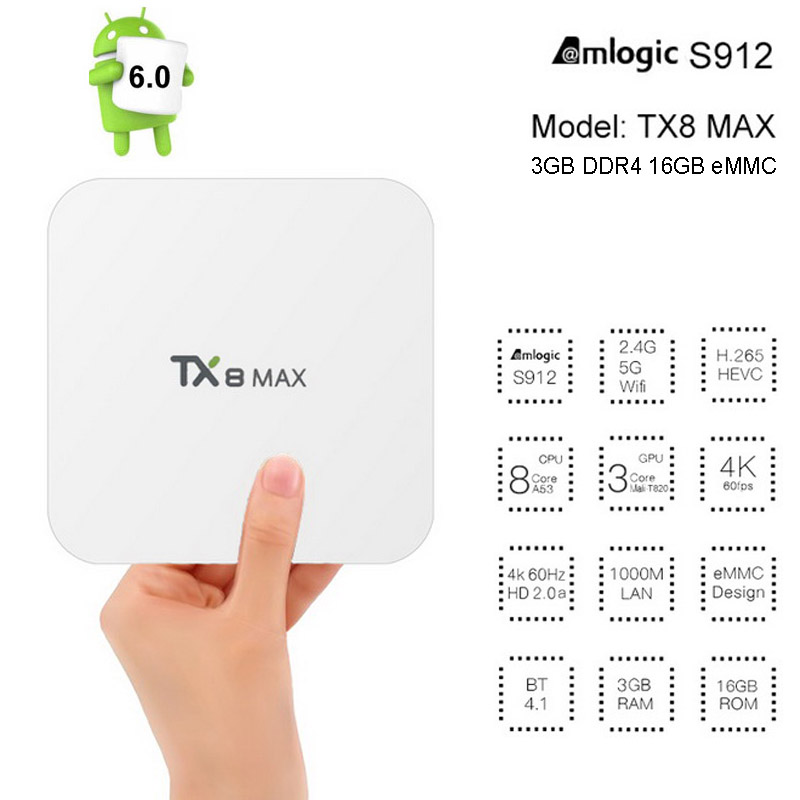 ФОТО 3GB DDR4 16GB TX8 Max Amlogic S912 Octa Core Android 6.0 TV BOX 2.4/5G Dual WIFI Bluetooth KODI 1000M LAN 4K H.265 Media Player