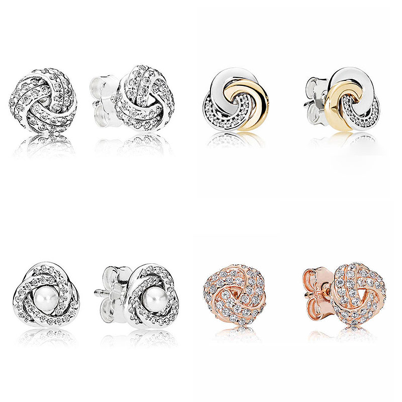 Interlinked Circles Sparkling Love Knot Earring Studs 925 Sterling Silver Earrings For Women Wedding Party Gift Pandora JewelryInterlinked Circles Sparkling Love Knot Earring Studs 925 Sterling Silver Earrings For Women Wedding Party Gift Pandora Jewelry