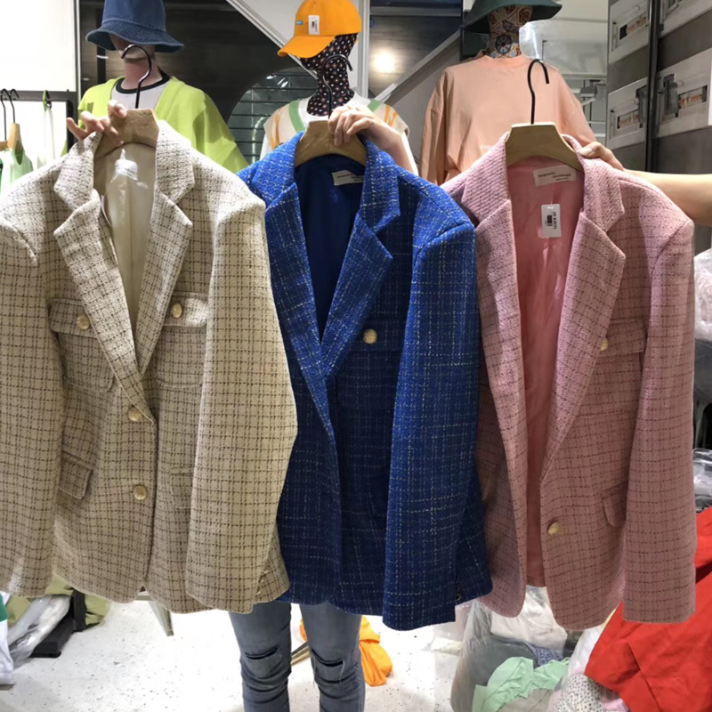 Spring New Plaid Tweed Office Blazer Women Vintage Single Breasted Long Sleeve Pink Women's Jacket Blazer Coat Female Outerwear