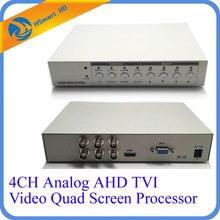 جهاز متعدد الإرسال عالي الدقة 1080P 4CH CCTV جهاز تناظري AHD TVI معالج شاشة رباعي الفيديو HDMI VGA مراقب الإخراج 2 BNC تناظري CVBS مخارج الفيديو