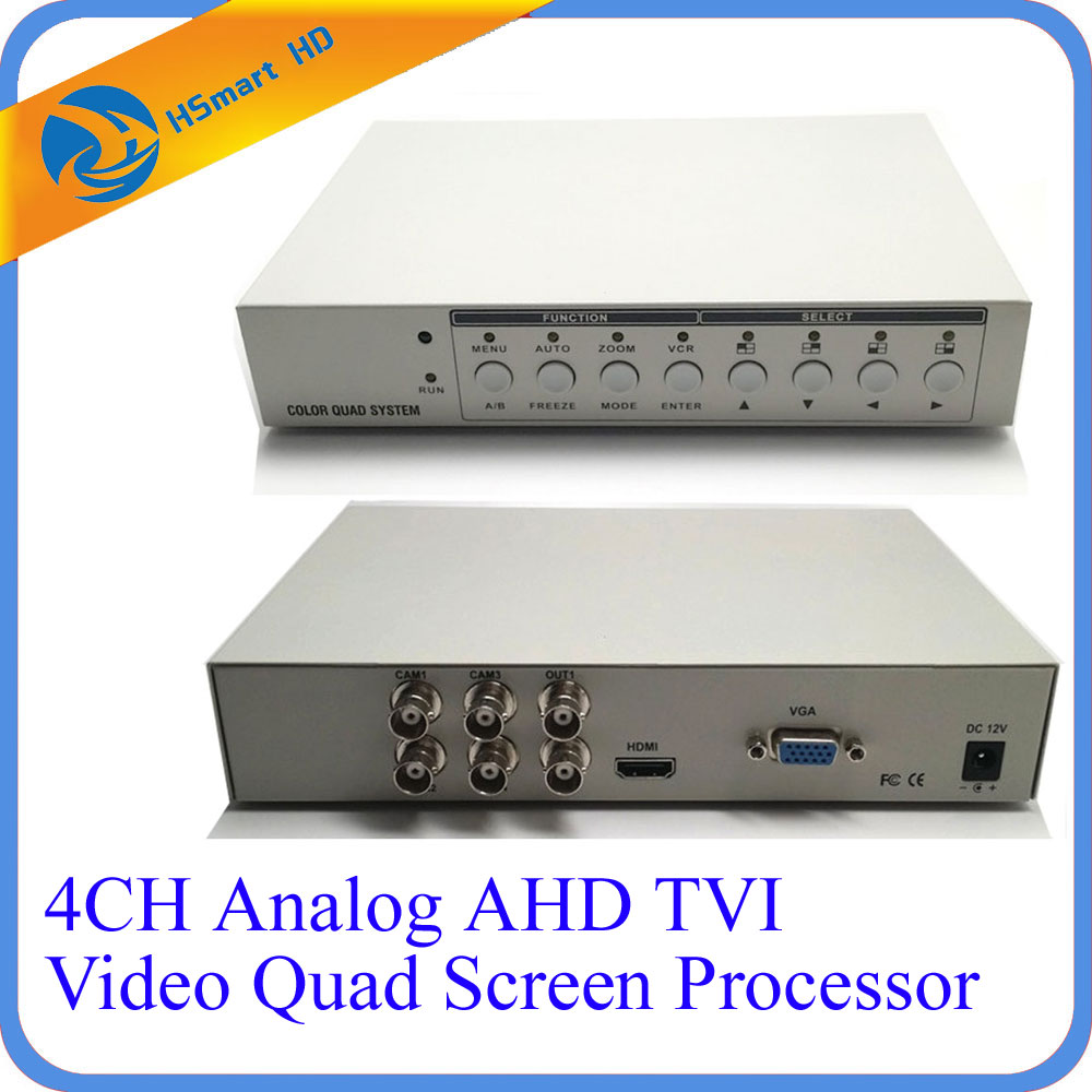 HD 1080P 4CH CCTV Multiplexer Analog AHD TVI Video Quad Screen Processor HDMI VGA Monitor Output 2 BNC Analog CVBS Video Outputs vga 4ch color cctv security camera quad processor remote control