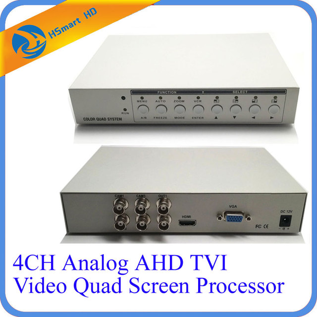 HD 1080P 4CH CCTV Multiplexer Analog AHD TVI Video Quad Screen Processor HDMI VGA Monitor Output 2 BNC Analog CVBS Video Outputs