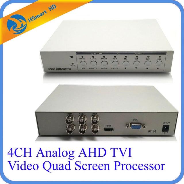 HD 1080P 4CHกล้องวงจรปิดMultiplexer Analog AHD TVI Video Quadโปรเซสเซอร์จอภาพHDMI VGA 2 BNC Analog CVBSเอาต์พุต