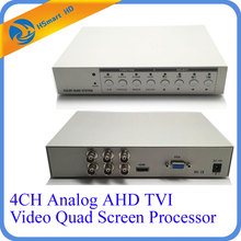 Hd 1080P 4CH Cctv Multiplexer Analoge Ahd Tvi Video Quad Screen Processor Hdmi Vga Monitor Uitgang 2 Bnc Analoge cvbs Video Uitgangen