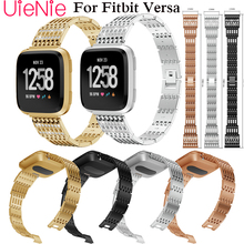 Steel strip watch strap For Fitbit Versa band screwless bracelet replacement metal wristbands accessories For Fitbit Versa frontier classic watch strap for fitbit versa band replacement metal with rhinestone wristbands accessories steel strip