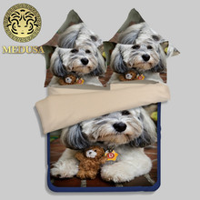 Medusa outlet 3D Realistic puppy dog cotton bedding set king queen size bed duvet cover bed sheet pillow cases 4pcs kit