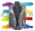 3D flower blazer jacket prom wedding male costume Black gold plaid nightclub bar paillette male cortex singer dancer performance