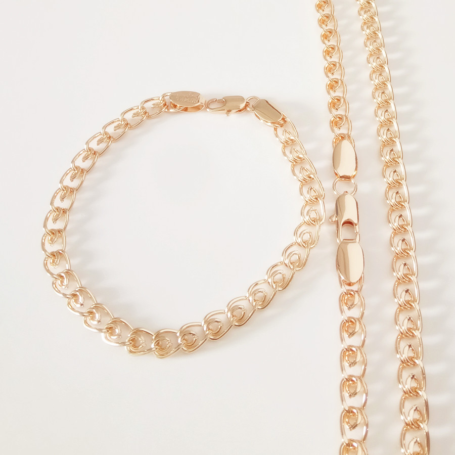 Ing Jewelry Set 5MM Women Men Pink 585 Gold Color Link Chains Bracelet Necklace Jewelry Sets